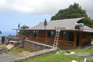 Our bamboo house under construction.